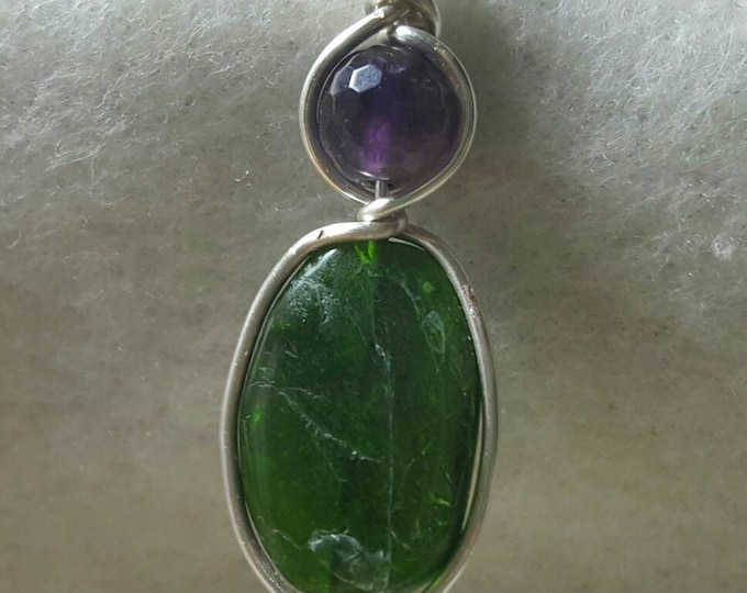 Chrome Diopside and Amethyst Pendant Necklace
