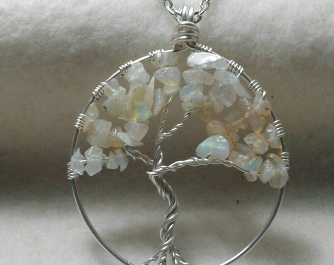 Opal Tree of Life Necklace, Gemstone Tree of Life, Opal Necklace, October Birthstone, Mother's Pendant, Gemstone Pendant
