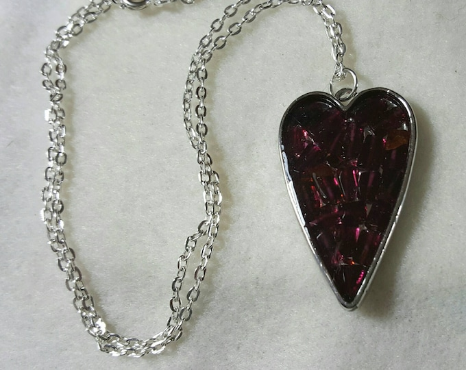 Mosaic Garnet Heart Necklace, Garnet Necklace, Heart Necklace, January Birthstone, Gift for Her