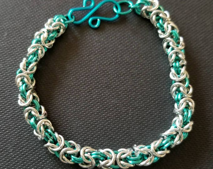 Byzantine Silver and Teal Chain Maille Bracelet; Teal and Silver Bracelet; Gift for Her; Chain Maille Bracelet; Silver Bracelet