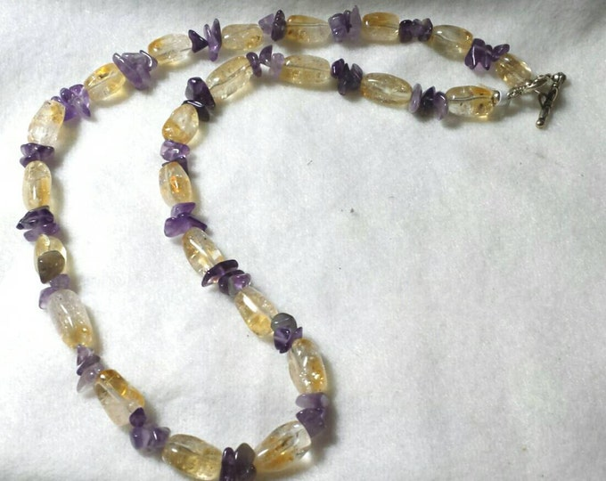 Citrine and Amethyst Necklace, Citrine Necklace, Amethyst Necklace, November Birthstone Necklace, February Birthstone Necklace