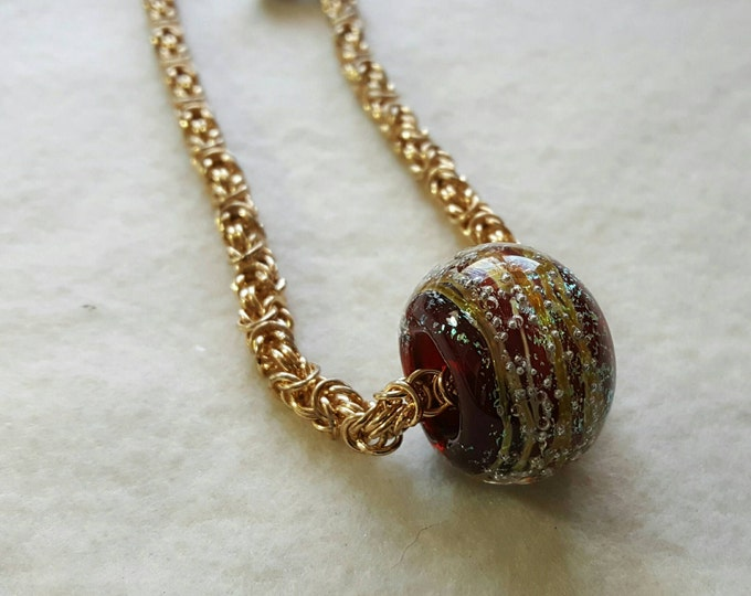 2-in-1 Gold Chainmaille Necklace with Colorful Glass Donut, Gold Necklace, Chainmaille Necklace,