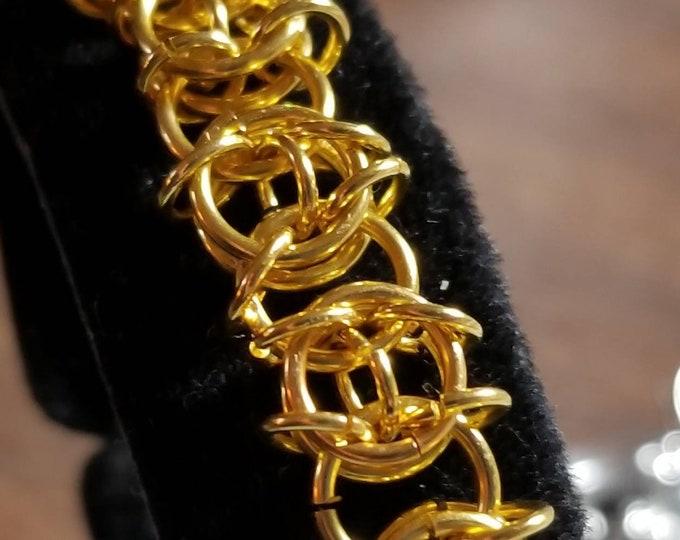 Celtic Weave Gold Plated Bracelet, Gold Bracelet, Chain Maille Bracelet, Gold Link Bracelet