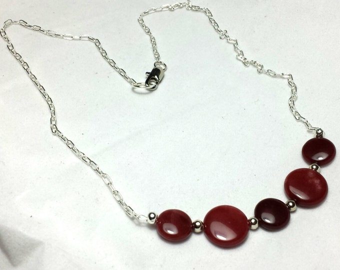 Ruby Jade (Dyed) Necklace, Jade Necklace, Red Necklace, Dark Pink Necklace, Gemstone Necklace