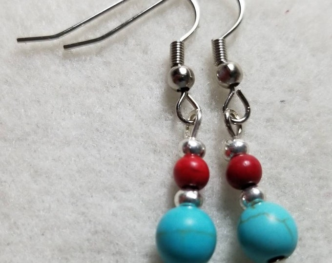 Turquoise Howlite and Coral Earrings; Dangle Earrings; Turquoise Earrings; Coral Earrings