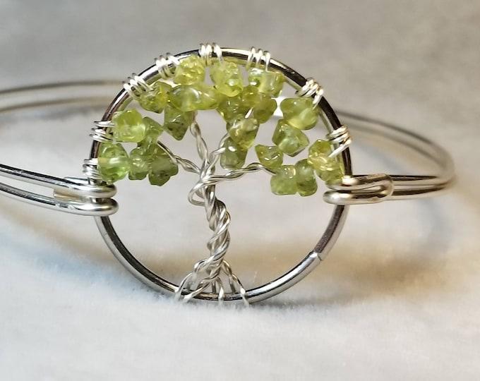 Peridot Tree of Life Bracelet; Peridot Bangle Bracelet; Tree of Life Bangle Bracelet; Gemstone Bracelet;  Gift for Her; August Birthstone