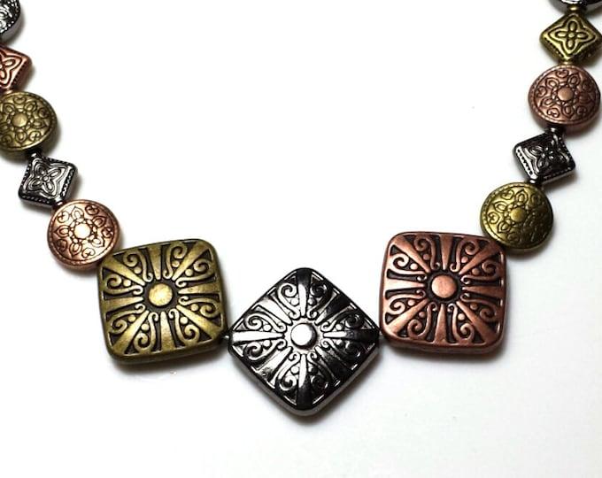 Tri-color Metal Necklace
