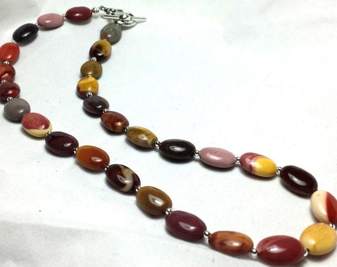 Mookaite Necklace, Brown Necklace, Beige Necklace, Pink Necklace, Gift for Her, Gemstone Necklace