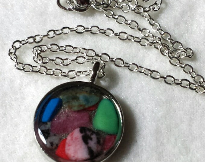 Mosaic Mixed Gemstone Necklace, Gemstone Necklace, Mosaic Gemstone Necklace