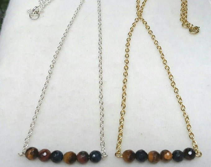 Mixed Tiger's Eye Bar Necklace