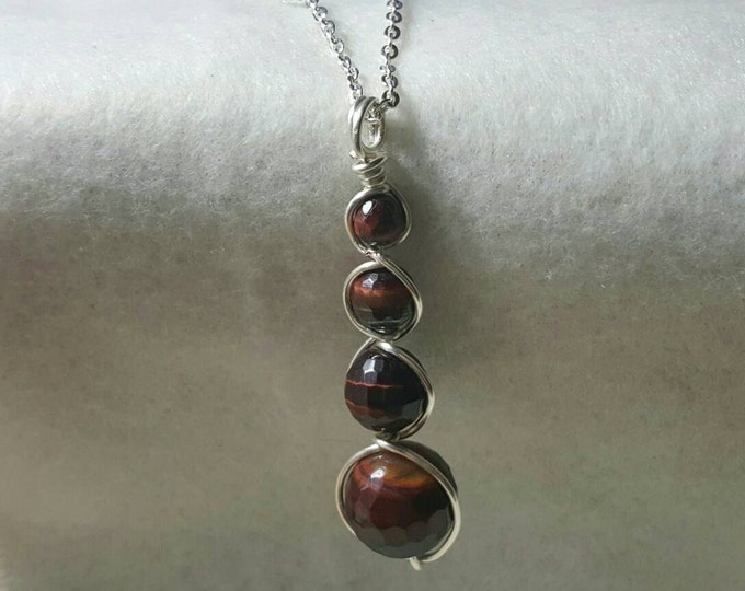Red Tiger's Eye Pendant Necklace