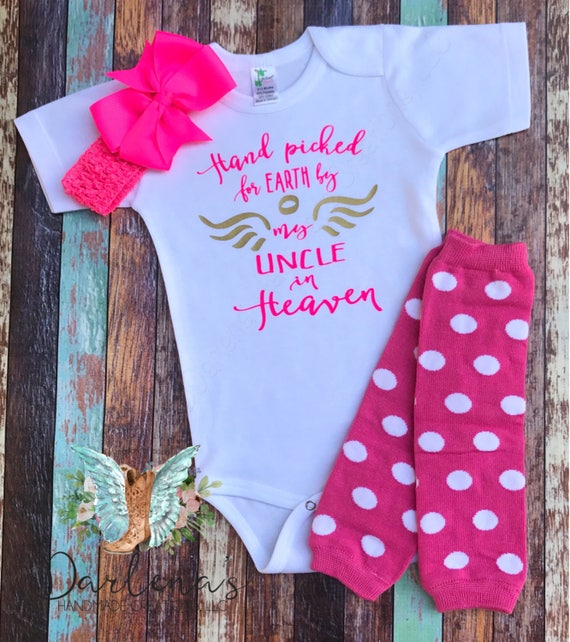 Guardian Angel Custom Baby Infant Toddler Shirt Baby Shower Gift Uncle Handpicked For Earth By My Uncle In Heaven Baby Bodysuit