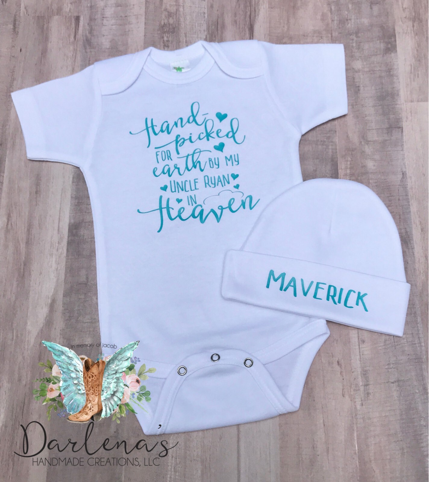 In Memory Gift SAMPLE SALE- Hand picked for Earth by Heaven Bodysuit New baby Gift Personalized In Memory Hand picked for Earth Shirt