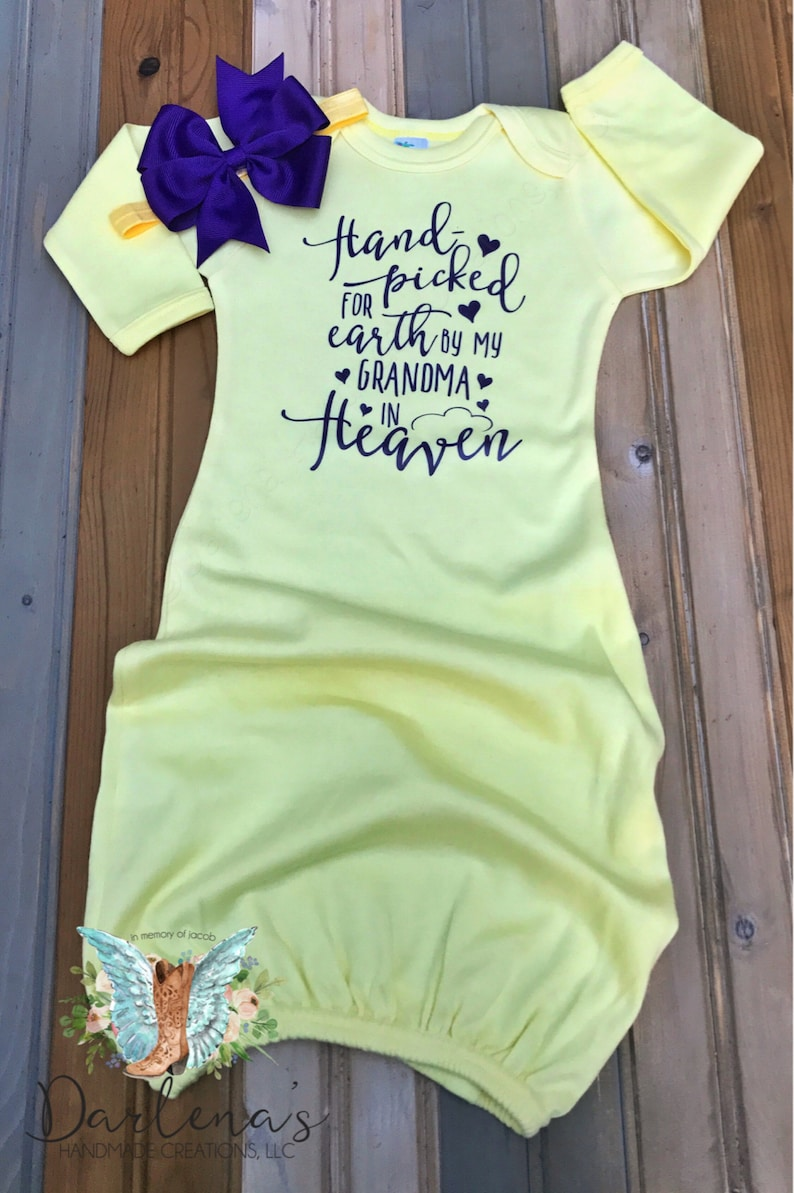 Can be Customized Yellow Gown with Purple Design Hand Picked for Earth by my Grandma in Heaven Baby Infant Gown optional bow headband