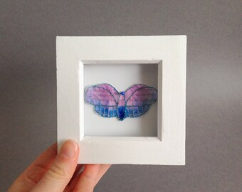 Embroidered butterflies in a wodden frame shabby chic handmade personalised gift specimen board modern wall decals 3d wall art