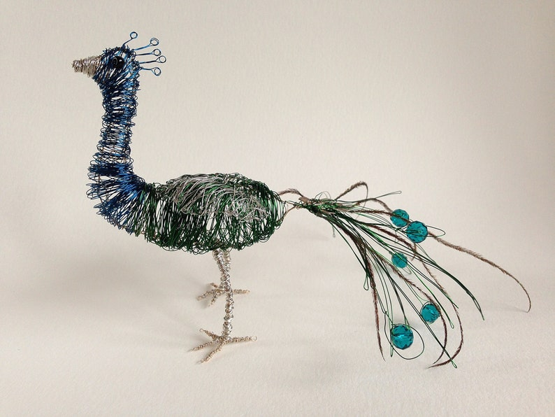 Wire Peacock India With Real Peacock Feathers And Crystal Etsy