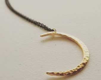 Crescent Moon Necklace Pendant on midnight black chain