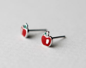 red enamel apple stud earrings in sterling silver 925 | Apple of my eye - teacher's pet, Cute, little fruit jewelry, LAST ONES!