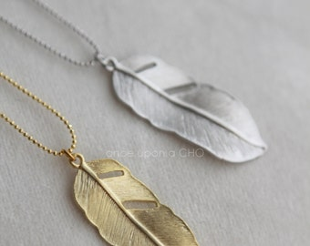 Gold Leaf Feather necklace pendant | matte silver or gold finish