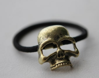 Cool goth Antique Gold SKULL Hair Tie | Gothic Halloween Hair Accessory