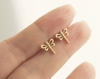 tiny little springtime dragonfly | butterfly earrings | matte gold or matte silver finish SALE**