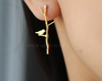Love Birdie on twig long earrings in gold or silver or pink finish