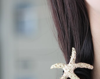 Starry Starfish Hair Tie in gold finish | beautiful elastic hair tie | summertime hair accessory | beach