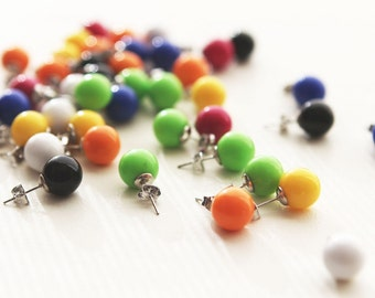 Colorful Rainbow Pop Fun cute Ball resin post earrings SALE**
