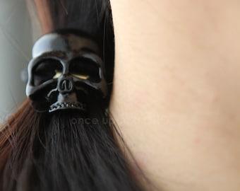 Cool Black SKULL Hair Tie | Goth Gothic Halloween | Darth Vader