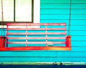 Red Swing Bench on Front Porch of Blue House - Cabbagetown - Atlanta, Georgia