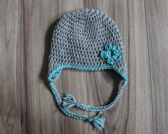 Flower Earflap Hat, Baby Flower Hat, Newborn Flower Hat, Baby Flower Beanie, Baby Girl Flower Toque, Crochet Flower Hat, Baby Flower Toque