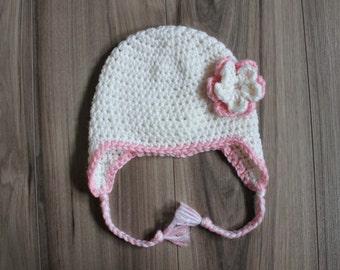 Double Flower Earflap Hat, Baby Flower Hat