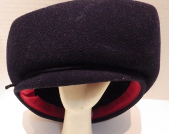 1950s Vintage Hat Miss Bierner Navy Red Felt Wool Military Pill Box Hexagonal Shape