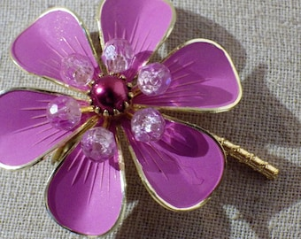 1980s Vintage Lavender Flower Pin Brooch West Germany Enamel and Beads