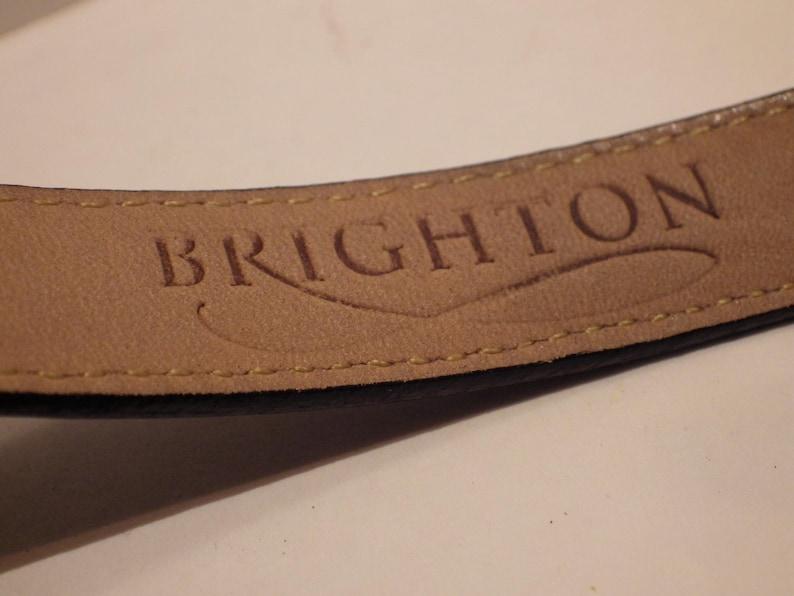 1990s Vintage Brighton Belt Gold Silver Buckle Black Lizard Size Medium 30