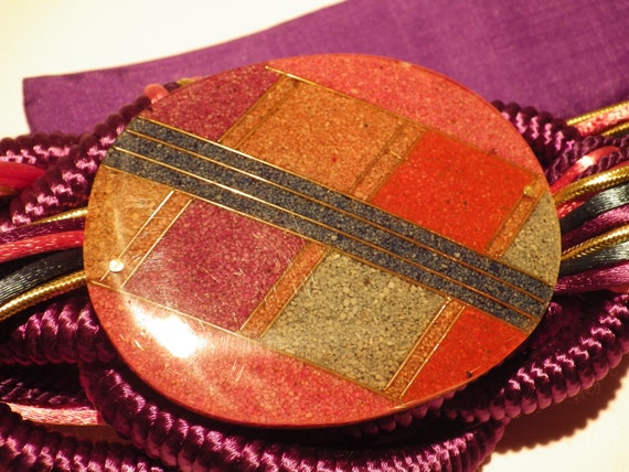 1970s Vintage Belt Braided Beaded Purple Fabric Adjustable Hook and Loop