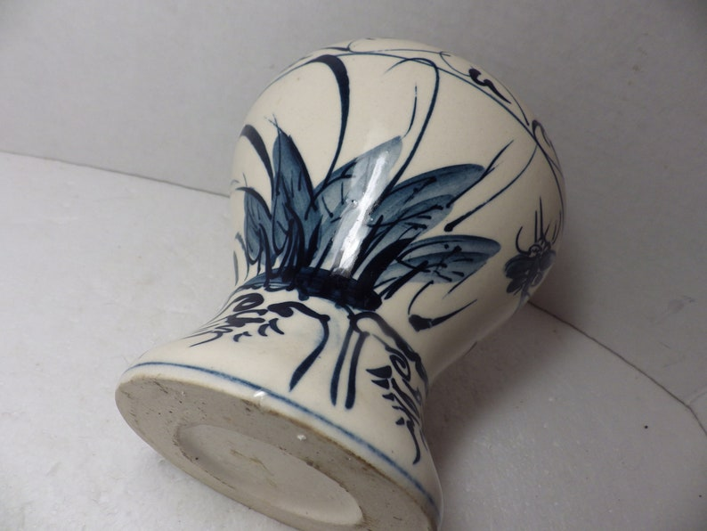1980s Vintage Hand Painted Asian Vase Pottery Dragonfly Blue on White