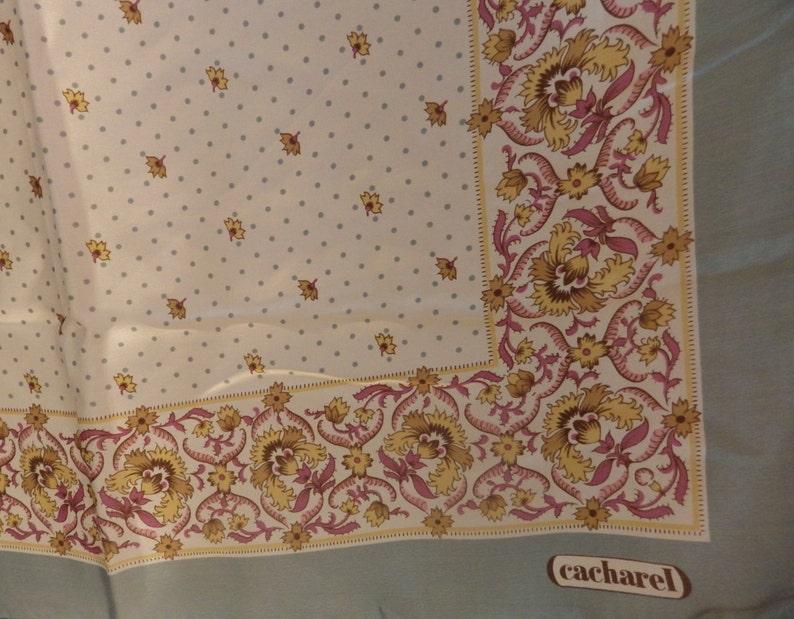 d2cba55a09 Vintage CACHAREL Silk Scarf Sage Border Purple Gold Pink on | Etsy
