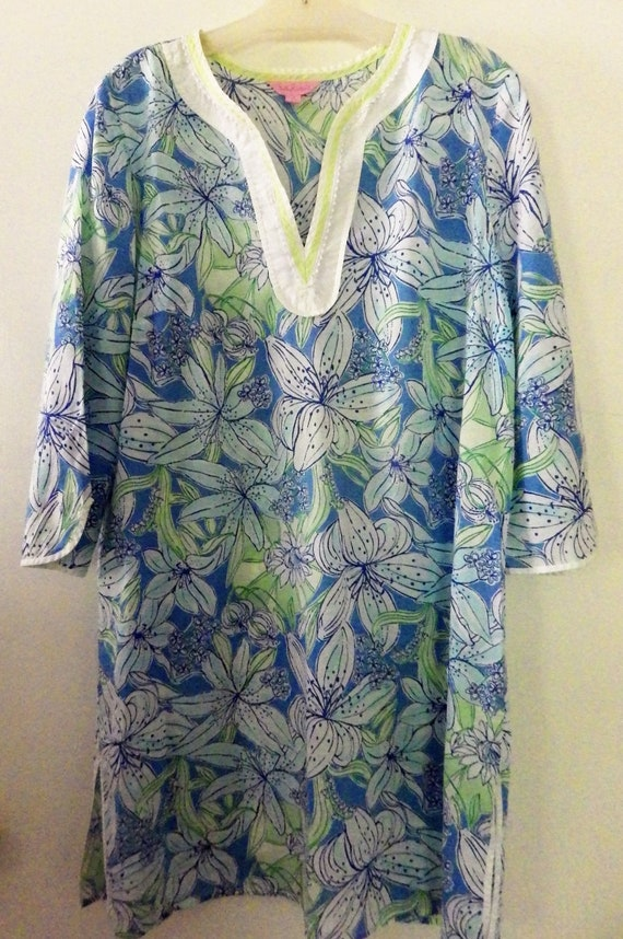 Vintage Lilly Pulitzer Tunic Caftan Lawn Cotton Bl