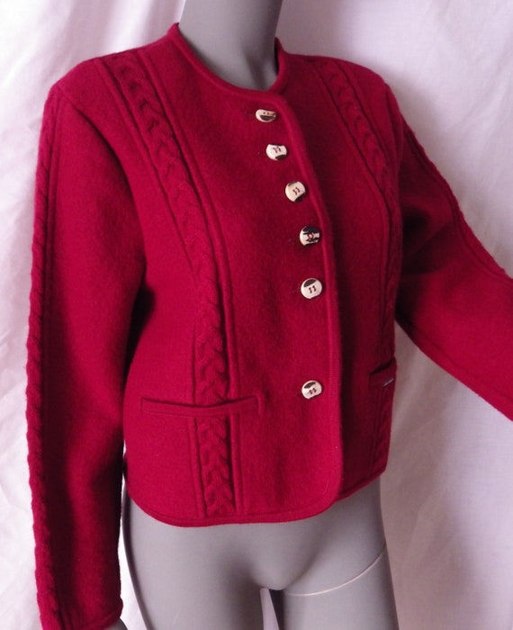 30aa8fc8a675 1980s Vintage Geiger Red Boiled Wool Jacket Austria Size 34