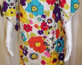 1970s Vintage Dela-Ann Creation Maxi Dress Caftan Mod Boho Festival Lounge Hippie Size M-L