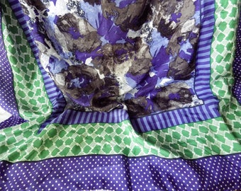 "1990s Vintage Silk Scarf Talbot's Square 32"" Purple Green White Dots Gray Abstract Floral"
