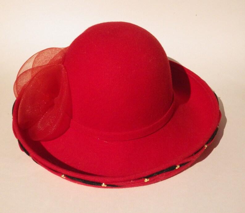 e312dbedaaacf9 Vintage Ann Marie Red Wool Hat Black Twist Trim Made in USA | Etsy