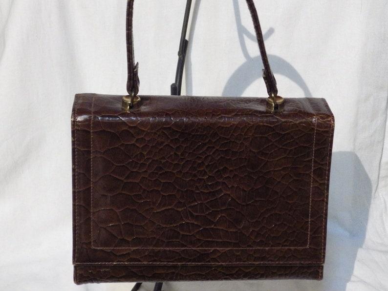 4b139c4b2b436 1950er Jahre Vintage braun Moc Krokodil Handtasche ca.