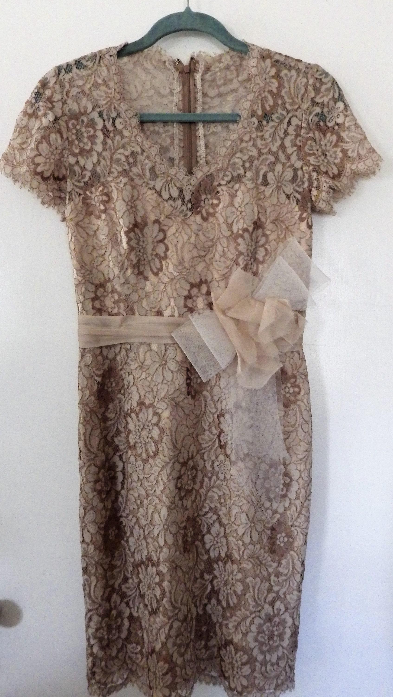 80s Dresses   Casual to Party Dresses 1980S Vintage Paulina Savarese Chantilly Lace Dress Ecru Size 6 $0.00 AT vintagedancer.com