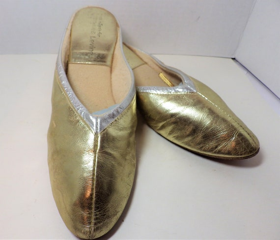 1980s Vintage Leather Slippers Mules Metallic Gold