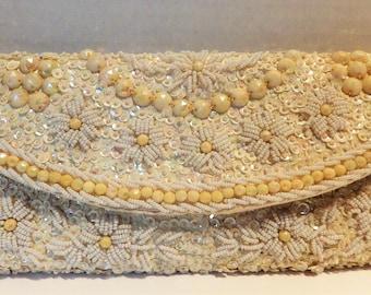 1960s Beaded Evening Bag Clutch White Satin Seed Pearls Bakelite Beads Hong Kong