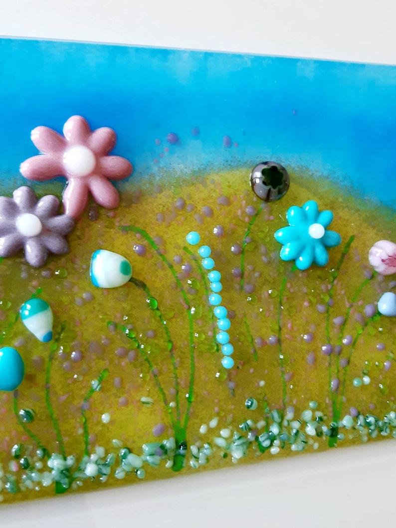 Silver Frame Glass Meadow Landscape Wall Art. Fused Glass Flower Wall Art