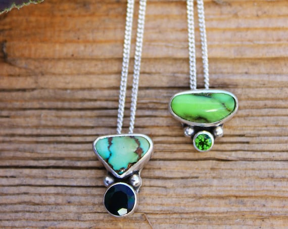 Moonseed//Natural Nevada Damele//Chrome Diopside//Black Opal//Sterling Silver//Dainty Necklace