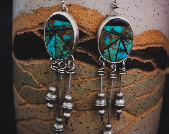 Littoral Earrings//Turquoise and Black Onyx Inlay//Sterling Silver Beads